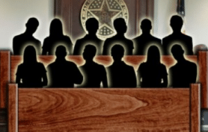 Image of Jury with black shadows of people, representing a full jury.